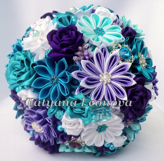 """Fabric Wedding Bouquet, Brooch bouquet """"Melissa"""" Turquoise, White and Purple on Etsy, $70.00"""