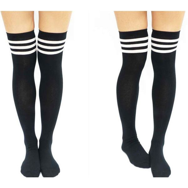 Black/White Striped  Thigh High Socks from MILK CLUB ($200) ❤ liked on Polyvore featuring intimates, hosiery, socks, black and white striped socks, striped socks, black and white socks, thigh-high socks and thigh high hosiery