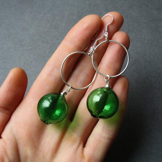 Earrings. Blown gollow green glass от LikeAGlassShop на Etsy