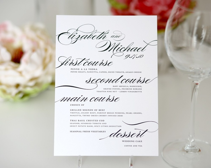 Wedding Dinner Menus for your Wedding or Event, Marriage Script Style B, Deposit. $100.00, via Etsy.