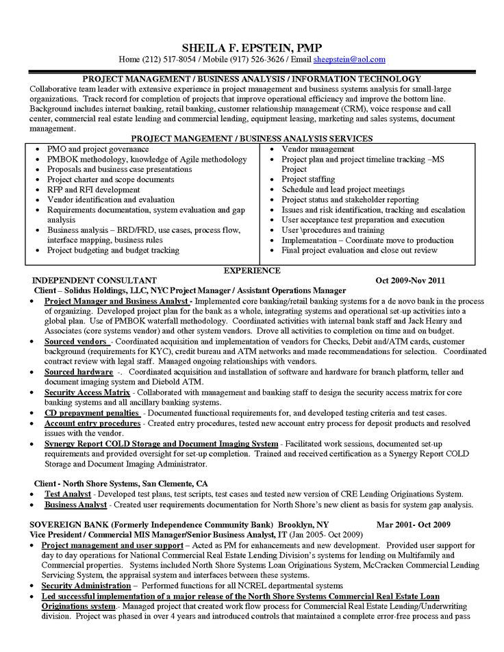 Sample Resume Business Analyst - Madrat.Co