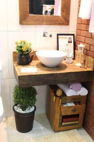 Dicas de bancadas de madeira para banheiro rústico                                                                                                                                                     Mais