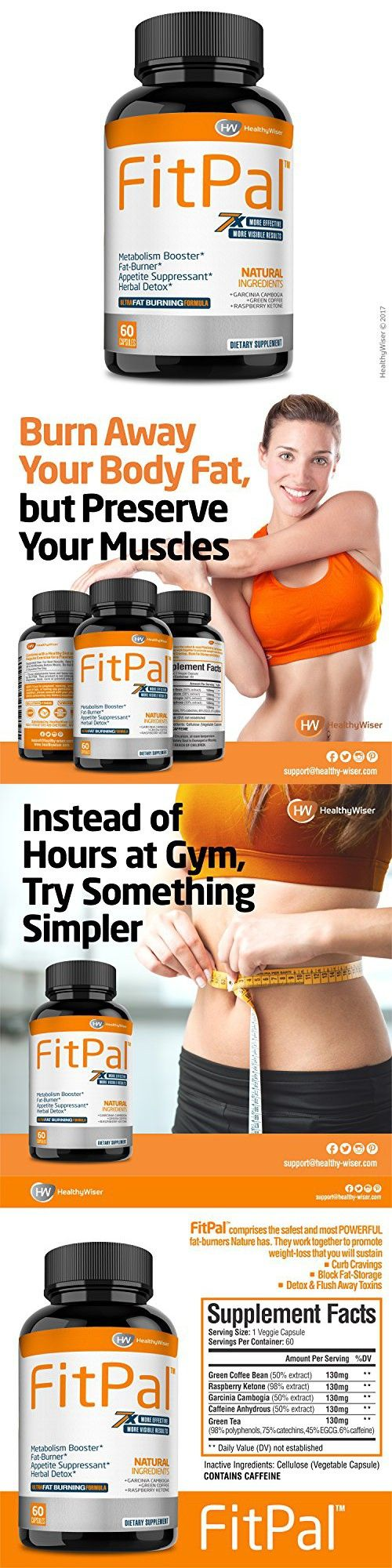 FITPAL Natural Thermogenic Fat Burner  Energy and Metabolism Booster - Weight Loss Pills With Green Coffee, Garcinia Cambogia & Raspberry Ketones, Effective Herbal Detox and Appetite Suppressant