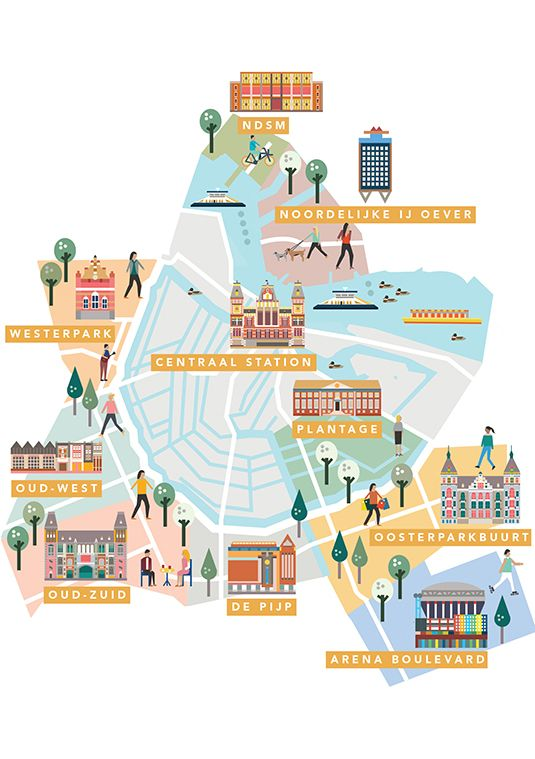 AMSTERDAM Neighbourhoods guide maps by Saskia Rasink.   I like the detail within the houses/buildings and them still being able to appear more graphic than illustrative.