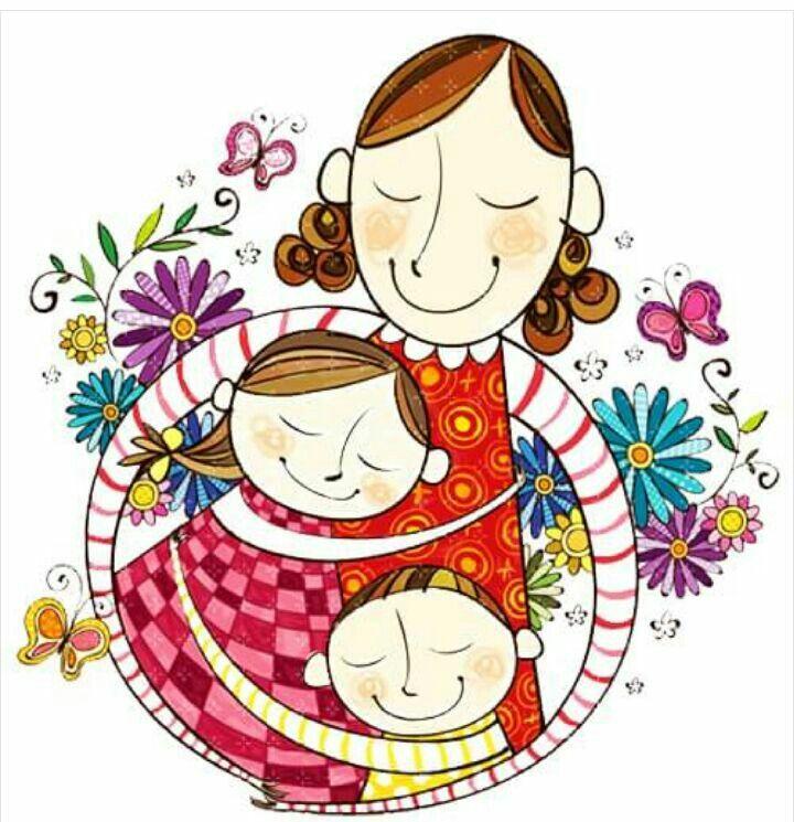 Картинки про маму и детей мультяшные