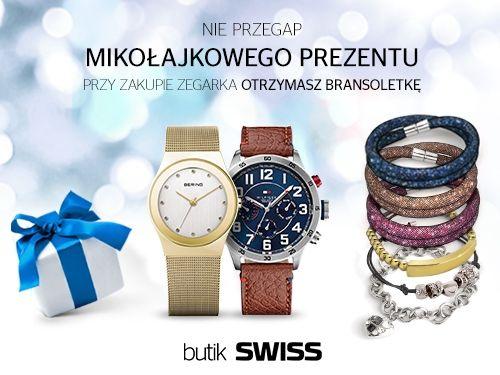 Nie przegap mikołajkowego prezentu od butiku SWISS. Przy zakupie zegarka otrzymasz bransoletkę. Dostępne do wyczerpania zapasów.
