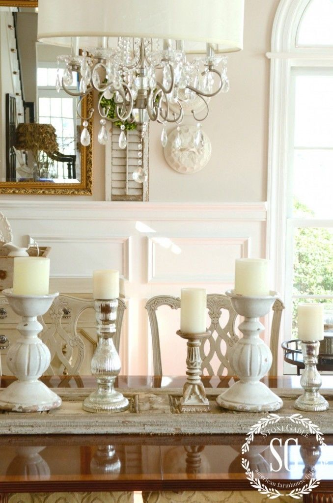 Winter decor adding candle glow and shutters on dining for Decorating dining table with candles
