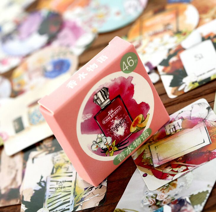 46Pcs/pack Delicate Perfume Live Label Stickers Decorative Stationery Stickers Scrapbooking DIY Diary Album H1288
