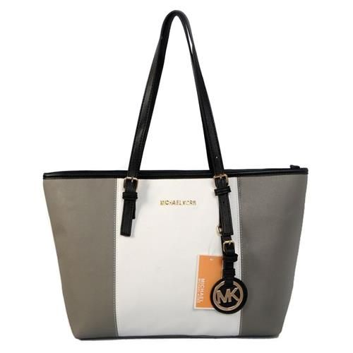Michael Kors Jet Set Center Stripe Travel Medium Grey White Totes, Your First Choice