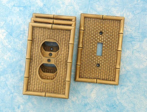 Vintage Bamboo Single Light Switch Plate Cover 3 Double