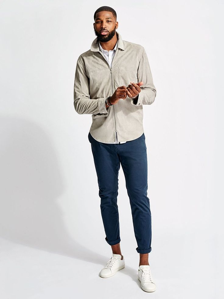 Tristan Thompson, Theory Toggle Tristan exudes cool confidence, and his look is a perfect match – a lush suede jacket with low key fitted trousers – easy All-American sportswear.