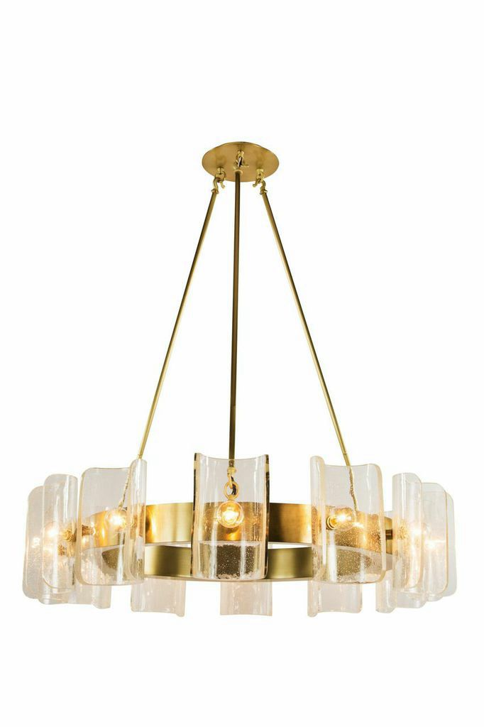 glass shade contemporary chandelier table. Helios Tall #chandelier In Satin Brass With Blown Glass Shades By Zia-Priven. Shade Contemporary Chandelier Table