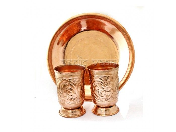 Abhishek Copper Glass with Puja Plate buy online from India