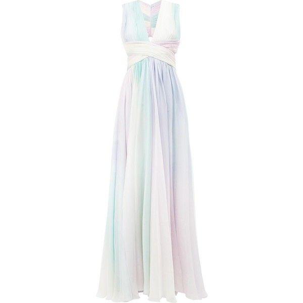 Zuhair Murad pastel rainbow print dress ($4,477) ❤ liked on Polyvore featuring dresses, zuhair murad, multicolored dress, zuhair murad dresses, white dress and silk dress