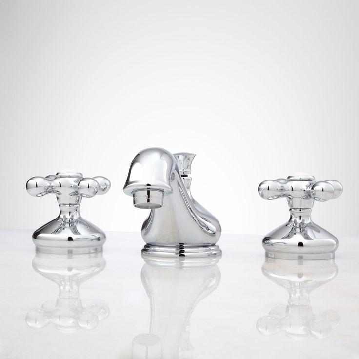 Deco Widespread Bathroom Faucet - Small Porcelain Cross Handles - Bathroom