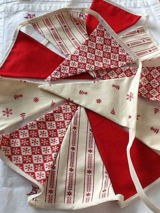 Scandinavian Style Christmas Bunting. note: binding is on the outside of the flag