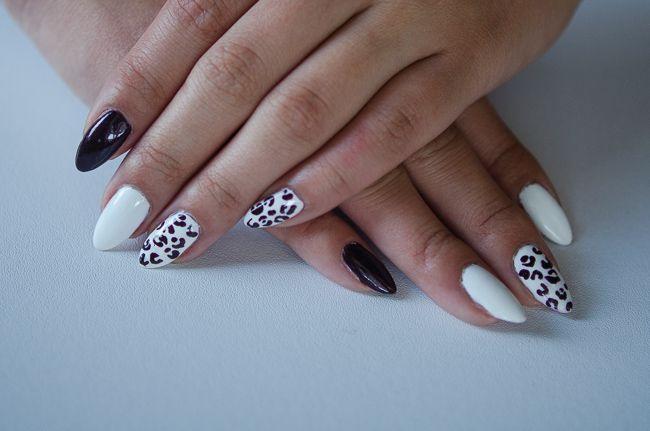 leopard x oxblood nail art