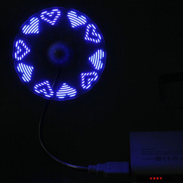 USB LED Message Fan Laptop Desk PC Gadget Car Flexible Goose-neck Random Pattern