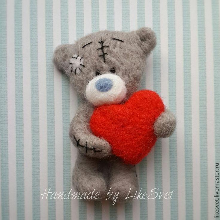 Мишка Тедди (войлочная брошь) - серый,тедди,тедди мишка,тедди медведи