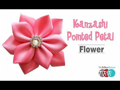DIY Easy Kanzashi Flower Tutorial - How To Make 5 Petals Ribbon Flower Hair Ornament - YouTube