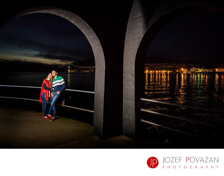 Best Award winning Vancouver wedding photographers Povazan Photography - Stanley park fun dusk lighthouse engagement pictures : Stanley park fun dusk lighthouse engagement pictures&nbsp, . Location: Stanley park lighthouse, Vancouver, BC. Exif:  (more exif)All Exif (hide).
