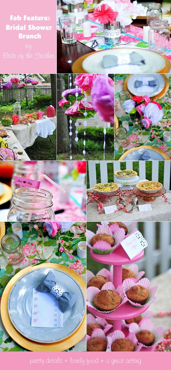 Backyard bridal shower decorations and food