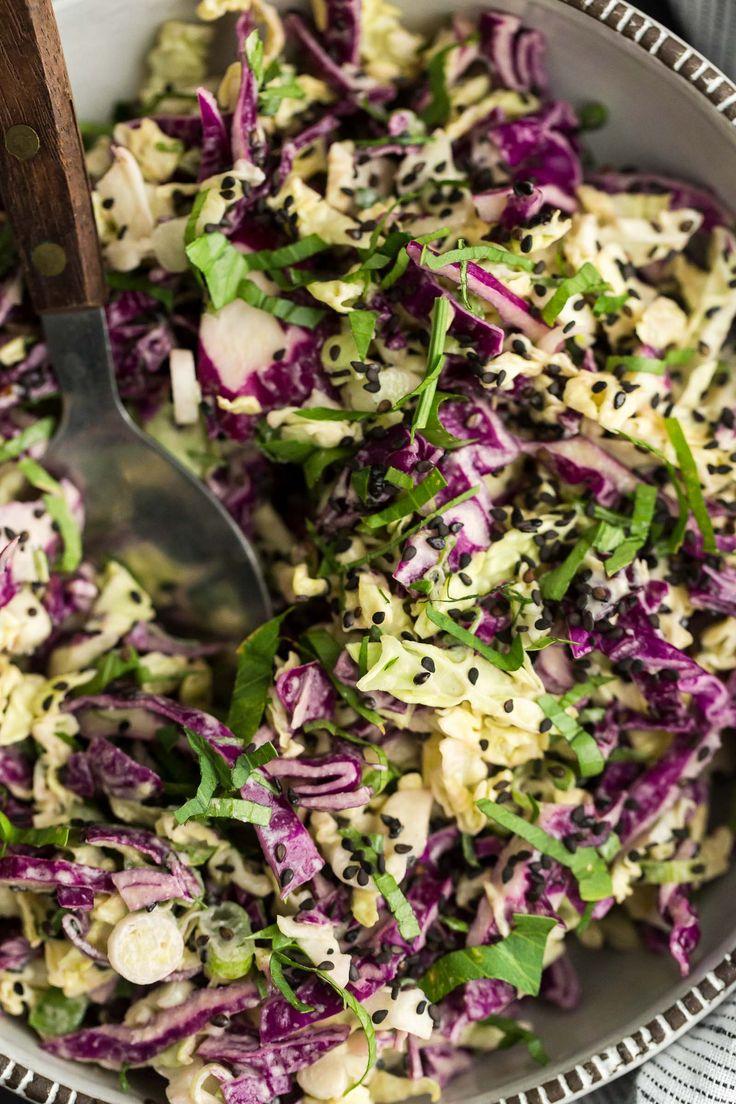 Tahini Cabbage Slaw (vegan)