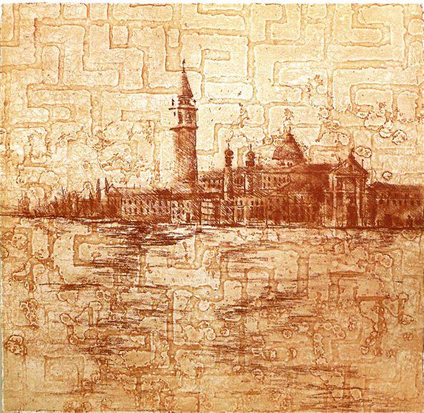 Sangiorgio Maggiore etching Artist Sandi Rigby