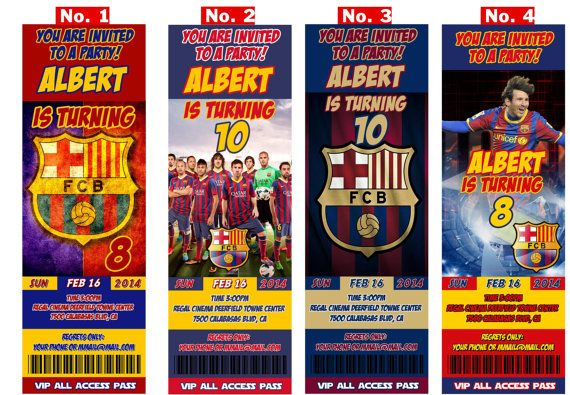 FC BARCELONA soccer team or Messi Birthday by pInvitations on Etsy, $9.99