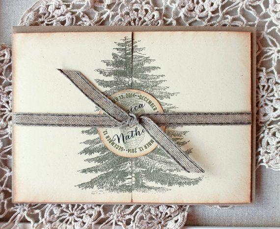Rustic Woodland Wedding Invitation Pine Tree