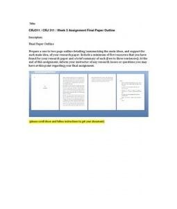 Final Paper Outline  Prepare a one to two page outline detailing/summarizing the main ideas, and support for each main idea, of your research paper. Include a minimum of five resources that you have found for your… (More)