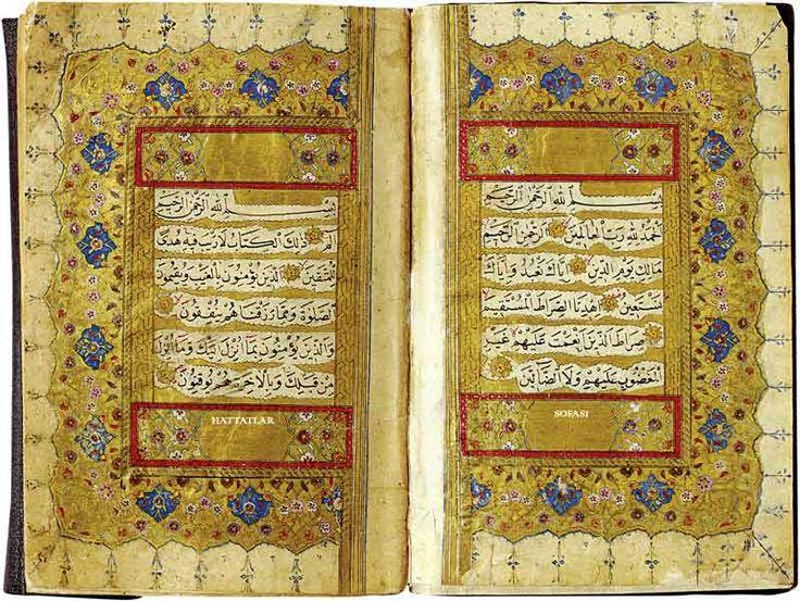 Hattat Ağakapılı İsmail Efendi'nin Bir Kuran-ı Kerim'inden Ser-levha Sayfaları  Daha fazlası için sitemizi ziyaret edin: hattatlarsofasi.com