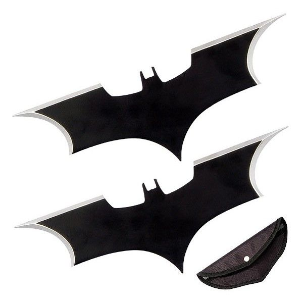 Dark Knight Batarangs: To Match Those Hockey Pads ❤ liked on Polyvore featuring weapons, fillers, accessories, blades and superheros