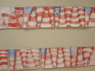 Flags ~with good directions.  And have the 5 & 6 grades write  the bill of rights in calligraphy to display with it