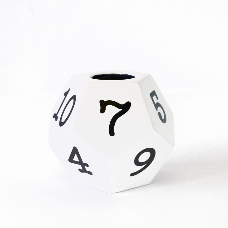 12 sided dice pencil holder in white