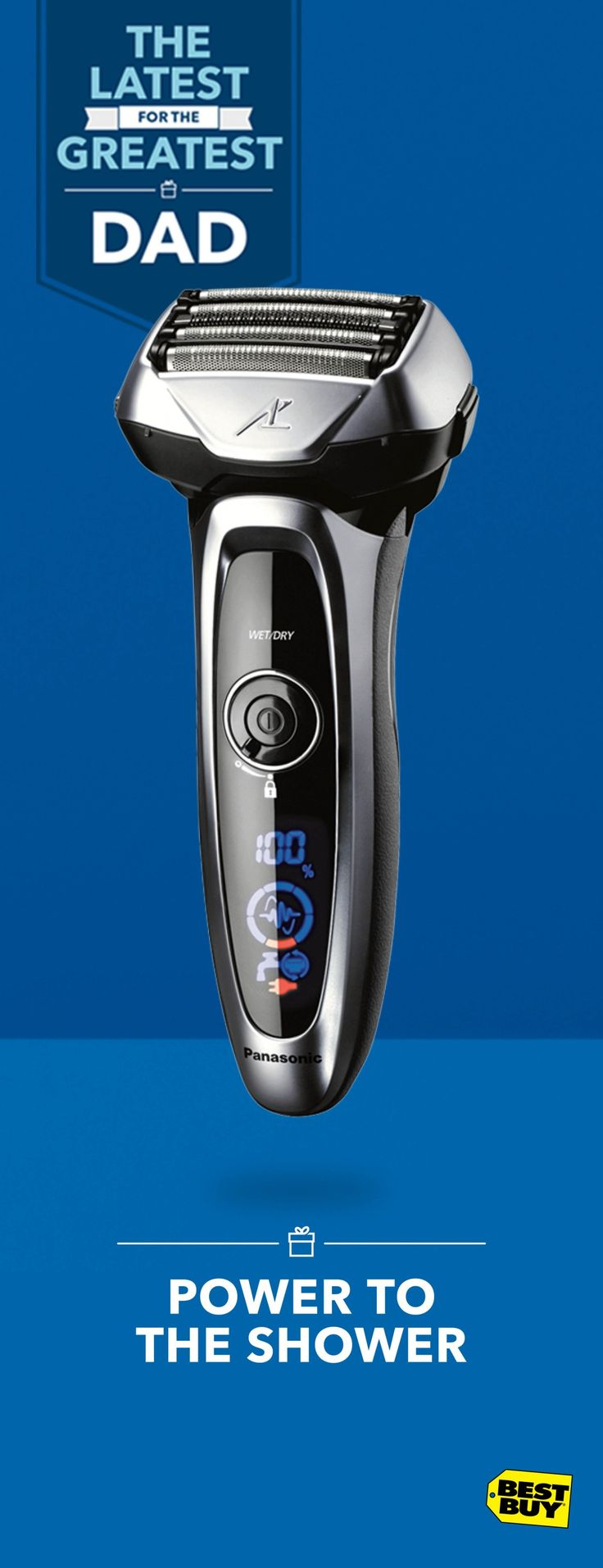 If the big guy's morning routine includes a clean shave, this wet/dry Panasonic arc5 shaver belongs in his shower caddy. The Multi-Flex pivoting head provides closeness and comfort. A built-in Shave sensor monitors facial hair density and adjusts power to its 5 blades automatically, making it quite possibly the best beard trimmer and electric shaver he'll ever own. Find powerful Father's Day gifts like this and more at Best Buy.