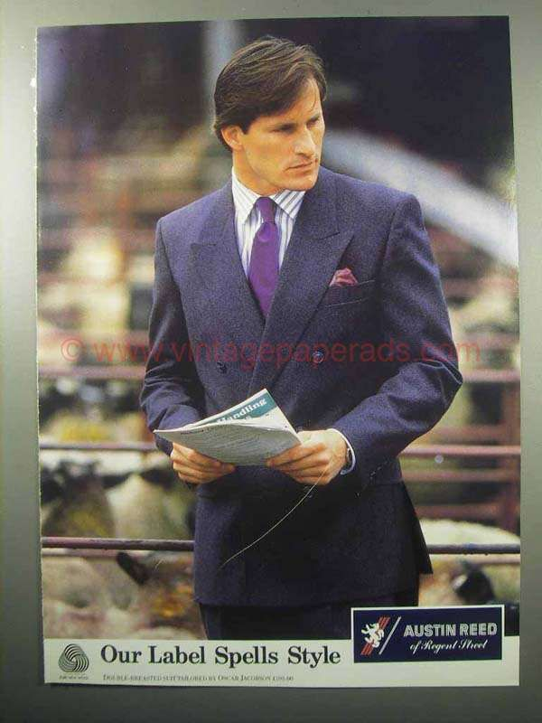 By0395 1987 Austin Reed Suit Ad Tailored By Oscar Jacobson British Style Men Vintage Mens Fashion 80s Fashion Men