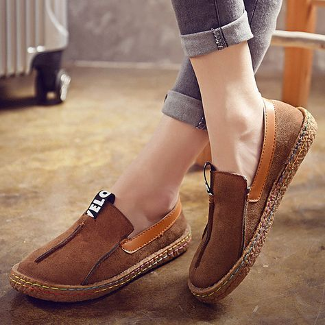 $14.45 Hot-sale Suede Pure Color Slip On Stitching Flat Soft Shoes For Women  -