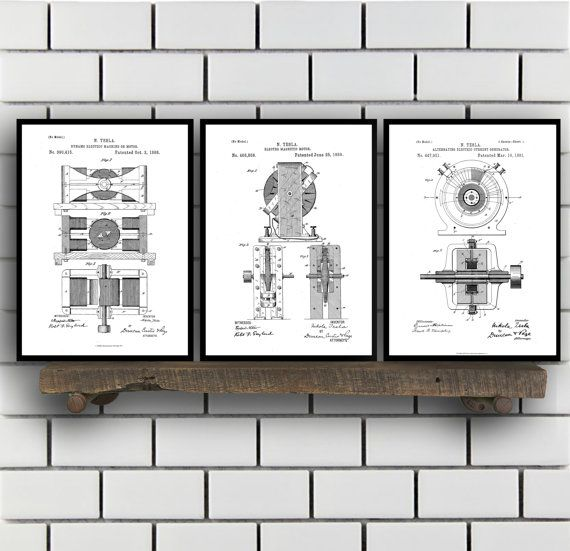 Tesla Patent Set of THREE, Tesla Electrical Transmitter Patent, Tesla Poster, Tesla Transmitter Print, Tesla Patent, Tesla Inventions, SP114 by STANLEYprintHOUSE  7.50 USD  All of the posters are printed using high quality archival inks, and will be of museum quality. Any of these posters will make a great affordable gift, or tie any room together.  Please choose between different sizes and colors.  These posters are shipped in mailing tubes via USPS Fi ..  https://www.etsy.com/ca/..