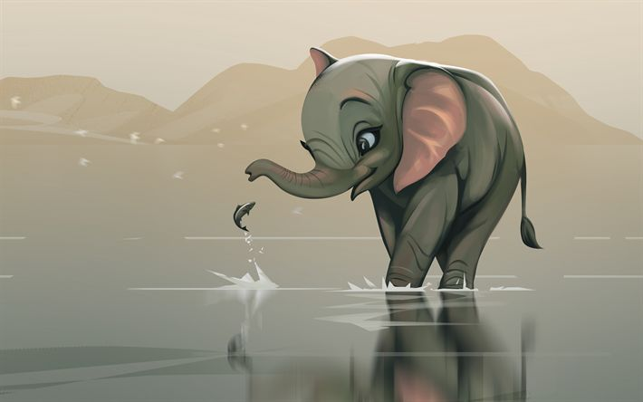 Download wallpapers 4k, elephant, fish, artwork, lake, freinds, creative