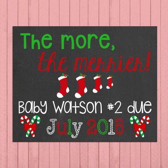 Christmas Pregnancy Announcement Chalkboard Poster Printable // The More, The Merrier // Christmas Pregnancy Reveal // Christmas Baby by PersonalizedChalk