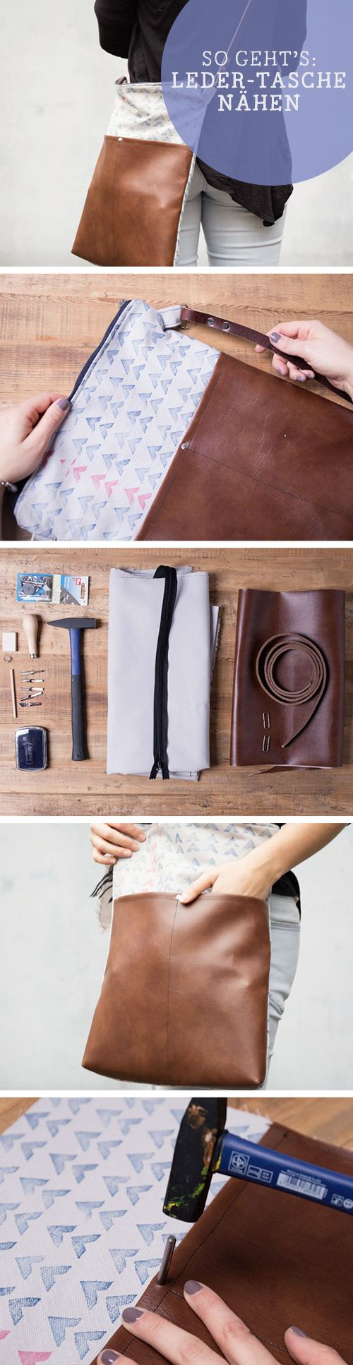 Kostenlose Anleitung: Ledertasche nähen und bedrucken free diy tutorial: sew your own leather bag