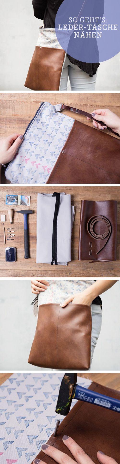 Kostenlose Anleitung: Ledertasche nähen und bedrucken, Trend / trendy and free diy tutorial: sew your own leather bag, printed via DaWanda.com