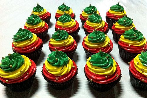 Making rasta cupcakes tomorrow, but cupcakes will be the reverse...red/yllw/grn cake with chocolate icing