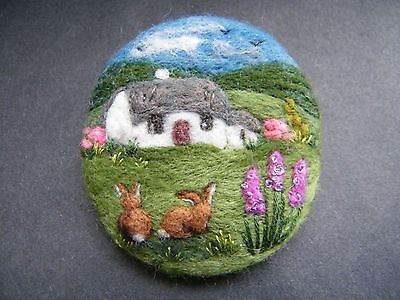 Handmade-needle-felted-brooch-Gift-The-Morning-Visitors-by-Tracey-Dunn