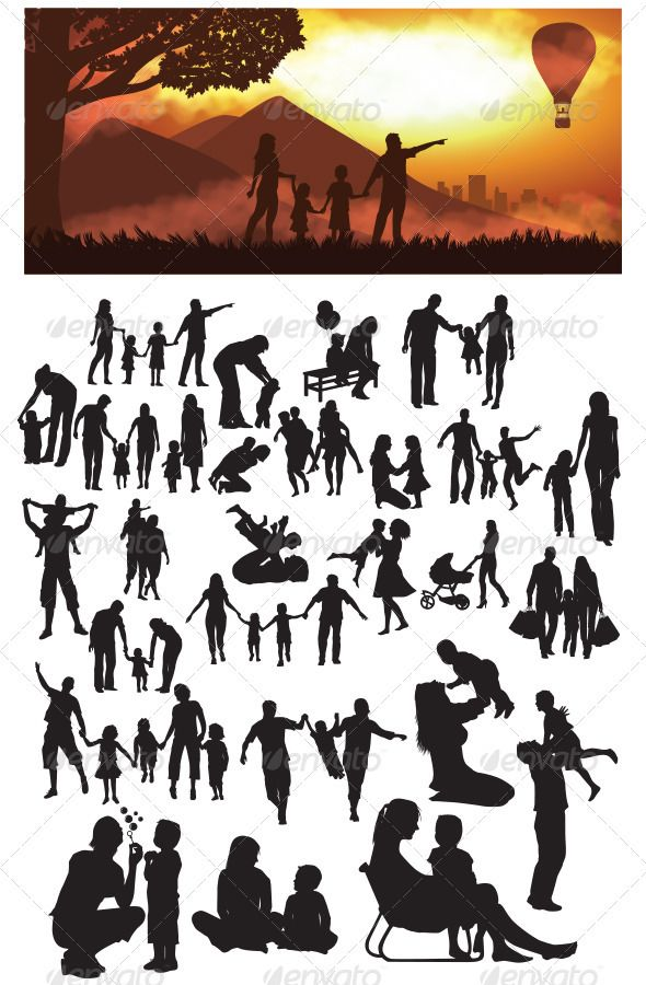 Family Silhouettes  #GraphicRiver         This is nice and high detail vector. In this files include AI and EPS versions. You can open it with Adobe Illustrator CS and other vector supporting applications. I hope you like my design, thanks   visit my silhouettes collection graphicriver /collections/3119286-silhouettes     Created: 31January13