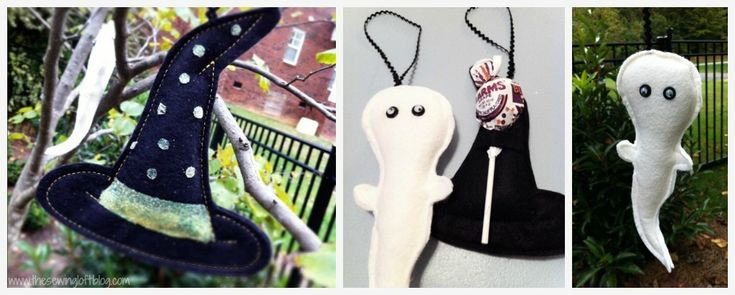 Halloween treat holder. Pattern includes witch hat and ghost lollipop holder. Easy to make. @TheSewingLoft