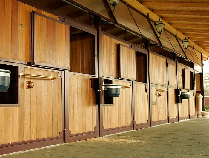 Stabling with large roof overhang and opening windows.    www.equidesign.it