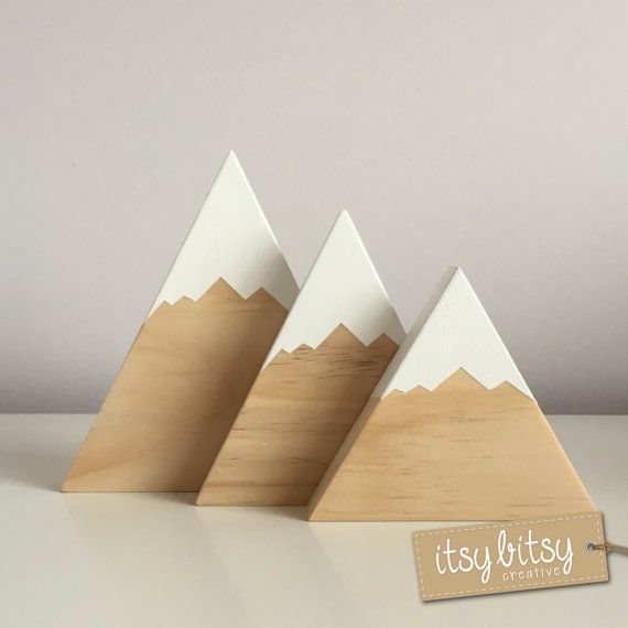 Nursery Decor, Wooden Mountains Set of 3, Home Decor, kids decor, wooden decor, new baby gift - You choose colours to match your room Our gorgeous and very popular handmade wooden mountains come in sets of 2 or 3 and are the perfect addition to your nursery decor! These wooden mountains will look stunning on any childs bedroom shelf or anywhere to just decorate your home. Add a Scandinavian touch to your childs room or even give them as a gift for a new baby. The snow on each mountain is…