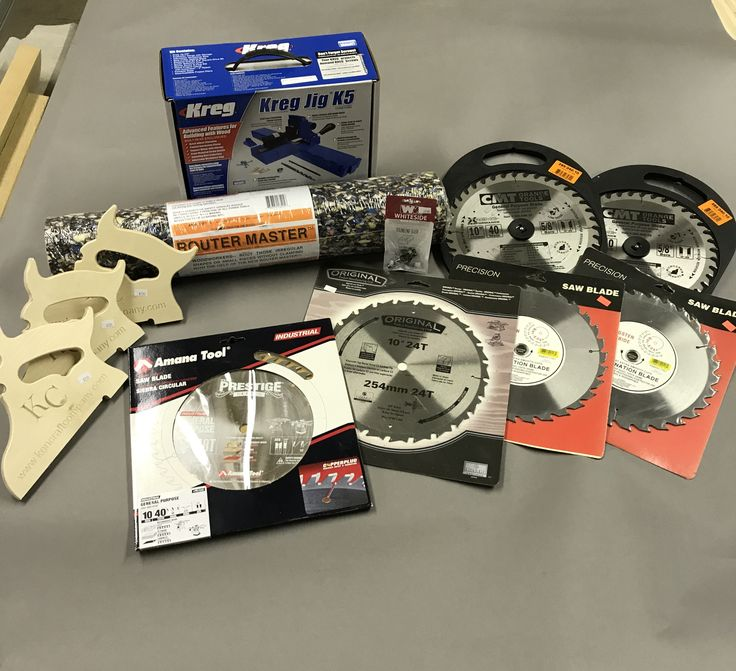 Prizes for June 3rd, 2017 meet N greet at Kencraft of Toledo ... Keg Jig, CMT blades, Amana Blades, Whiteside Router Bits, Router Master Router pad and more!